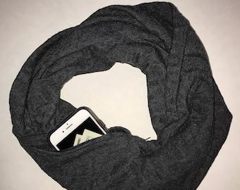 Imprinted infinity hidden pocket scarf