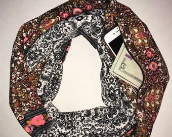 Multicolor infinity hidden pocket scarf