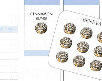Cinnamon Roll Stickers-Cinnamon Bun Stickers-Dessert Stickers-Food Stickers-Breakfast Stickers-Doodle Stickers- Planner Stickers-(DL-063)