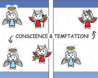 Conscience Stickers - Temptation Stickers - Good vs Evil Stickers - Angel Stickers -Devil Stickers - Angel Wings - Devil Horns - (LS-044)