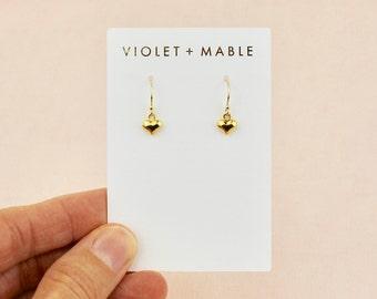 Tiny Gold Heart Earrings - Petite Gold Heart Dangle Earrings - Sweet Heart Earrings - Gold Heart Charm Earrings - Gold Heart Drop Earrings