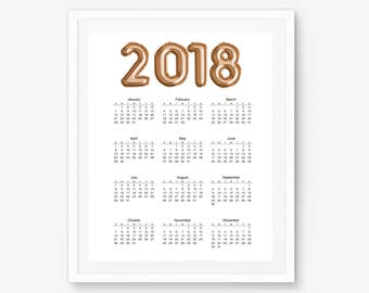 2018 wall calendar desktop calendar 2018 calendar 2018 planner calendar 2018 office calendar yearly calendar watercolor calendar