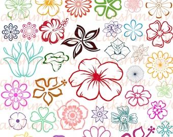 Flower SVG Bundle, Flower clipart, Flower cut files, svg files for silhouette, files for cricut, svg, dxf, eps, cuttable design