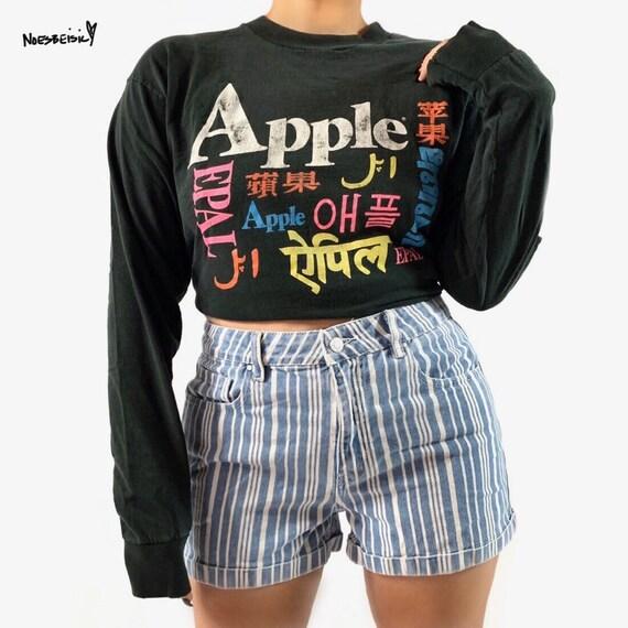 Vintage Rare Apple Macintosh Rainbow Long Sleeve