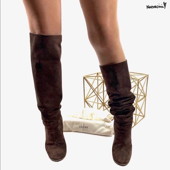 Celine Brown Suede Knee High Boots Chunky Heel