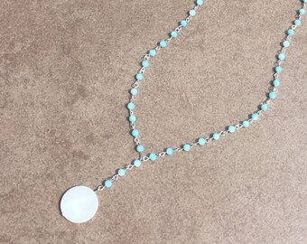 Light Blue Beaded Lariat Necklace, Silver Necklace, Festival Jewelry, Blue Necklace, Boho Jewelry, Hippie Jewelry, Bohemian Jewelry