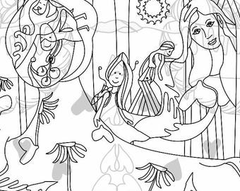 Into the Woods - printable colouring page