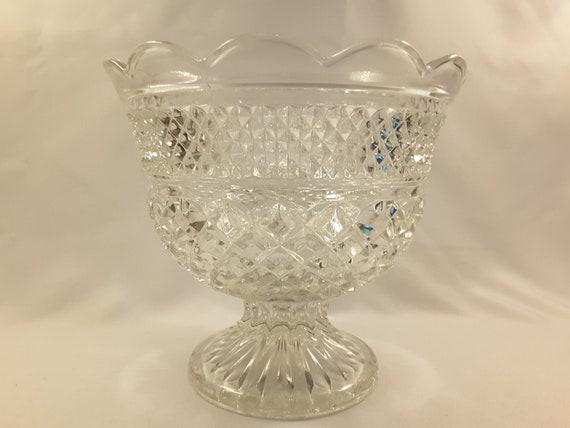 ANCHOR HOCKING WEXFORD GLASS Crystal plate punch bowl dessert butter stemware