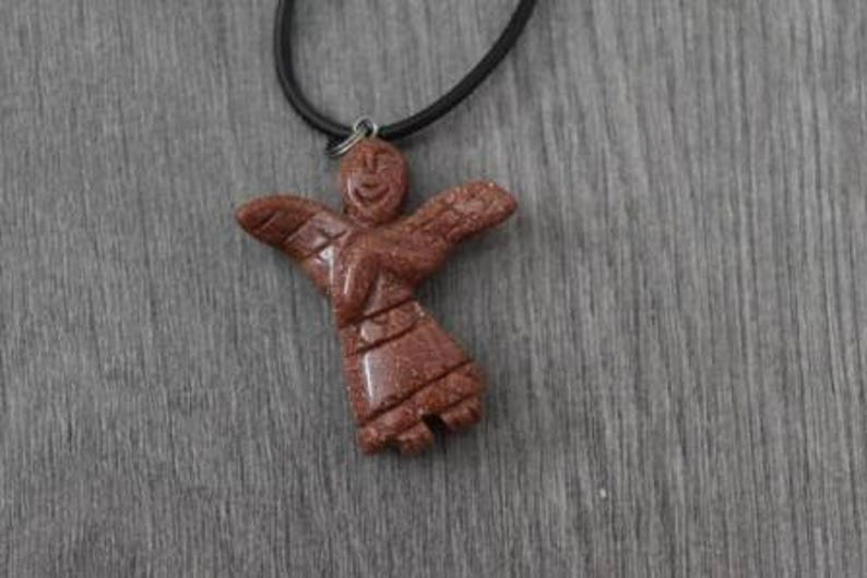 Unique Healing Red Goldstone Angel Pendant with Cord Jewelry that is Handmade in Canada