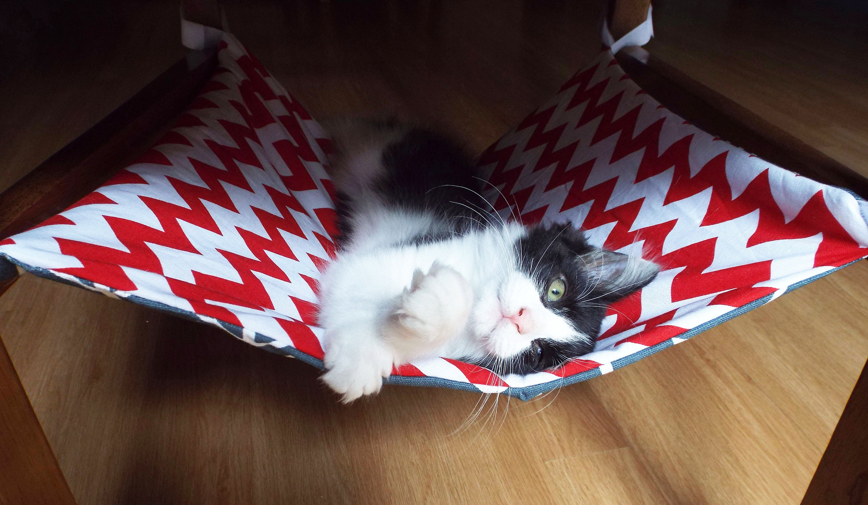 Chevron Cat Hammock Bed For Chairs Space Saving Hammock For Cats Sling For Kittens