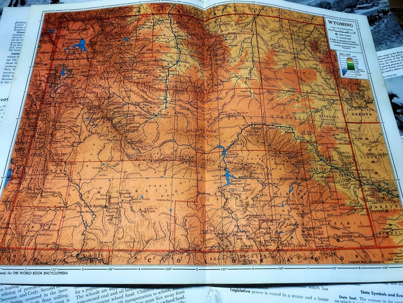 1957 Vintage Wyoming State Map Vintage Home Decor Vintage | Etsy