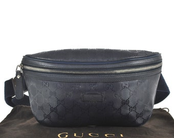 6367c11591dce0 E10 GUCCI Authentic Bumbag Belt Bag Cross body Waist Pouch Fanny Pack GG  Pattern Imprime PVC Leather Navy Italy