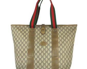 cf8f0b146 G67 GUCCI Plus Authentic Sherry Webbing Travel Hand Bag Shoulder Boston  Vintage Old GG Pattern Brown PVC Leather Italy