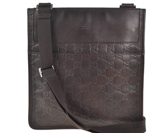4b920abf5ad0 F85 GUCCI Authentic Guccissima Shoulder Bag Cross Body Tote Vintage GG  Pattern Brown Leather Italy