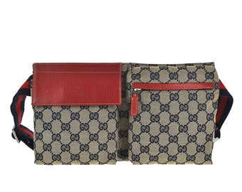 e588a7352e1f G28 GUCCI Authentic Sherry Webbing Bumbag Belt Waist Pouch Cross body Fanny  Pack Vintage GG Pattern Navy Red Canvas Leather Italy