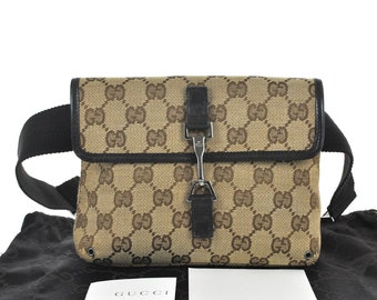 8d69af828da605 D98 GUCCI Authentic Waist Pouch Bumbag Belt Bag Cross Body Fanny Pack  Vintage GG Pattern Brown Canvas Leather Italy