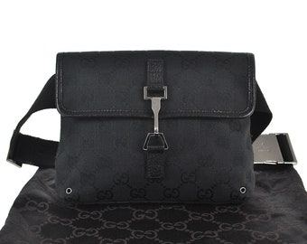 6cc02e8f1680 F22 GUCCI Authentic Waist Pouch Bumbag Belt Bag Cross Body Fanny Pack  Vintage GG Pattern Black Canvas Leather Italy