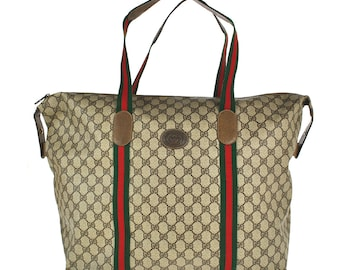 b3a893a4a555dc G51 GUCCI Authentic Sherry Webbing Travel Hand Bag Shoulder Boston Vintage  Old GG Pattern Brown PVC Leather Italy