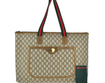 195d66406 G59 GUCCI Plus Authentic Sherry Webbing Travel Hand Bag Shoulder Boston  Vintage Old GG Pattern Brown PVC Leather Italy