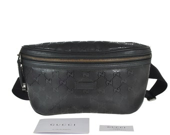 89d691d25a97 G39 GUCCI Authentic Bumbag Belt Bag Cross body Waist Pouch Fanny Pack GG  Pattern Imprime PVC Leather Black Italy