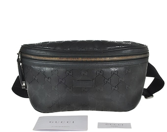 72c5d9182021 G39 GUCCI Authentic Bumbag Belt Bag Cross body Waist Pouch Fanny Pack GG  Pattern Imprime PVC Leather Black Italy