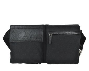 a64d13394700 G50 GUCCI Authentic Bumbag Belt Waist Pouch Cross Body Fanny Pack Vintage GG  Pattern Black Canvas Leather Italy