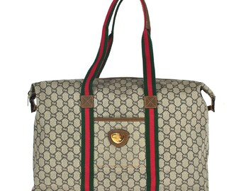 1764df4adcee2c 950 GUCCI Plus Authentic Sherry Webbing Travel Hand Bag Shoulder Boston Vintage  Old GG Pattern Brown PVC Leather Italy