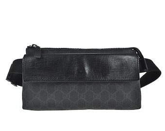 a4f0cc4e0744 D92 GUCCI Authentic GG Supreme Bumbag Fanny Pack Waist Pouch Belt Bag Cross  body Pattern Black PVC Leather Italy