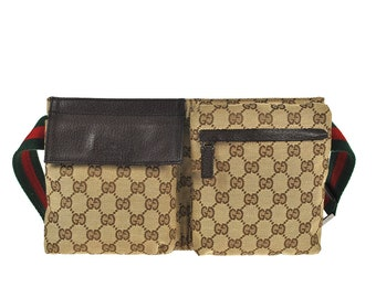 03b8f7c5553 G14 GUCCI Authentic Sherry Webbing Bumbag Belt Waist Pouch Crossbody Fanny  Pack Vintage GG Pattern Brown Canvas Leather Italy