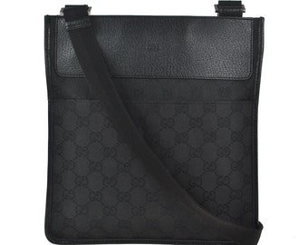 ab9c93dda H11 GUCCI Authentic Shoulder Bag Cross Body Tote Vintage GG Pattern Black Canvas  Leather Italy