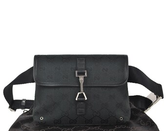 3f9b79bf385 G7 GUCCI Authentic Waist Pouch Bumbag Belt Bag Cross Body Fanny Pack  Vintage GG Pattern Black Canvas Leather Italy
