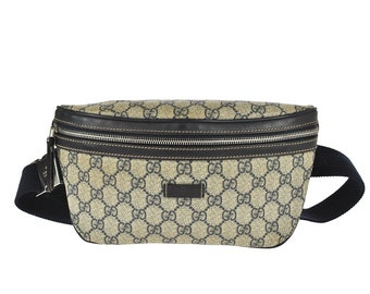 7543d3bbd10c F53 GUCCI Authentic Bumbag Belt Bag Cross body Waist Pouch Fanny Pack GG  Supreme Pattern Gray Navy PVC Leather Italy