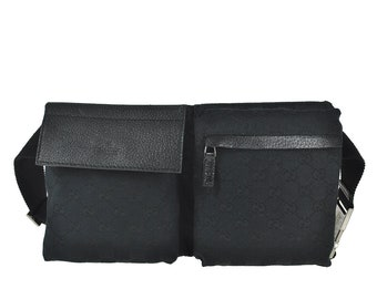 921012a14271 F80 GUCCI Authentic Bumbag Belt Waist Pouch Cross Body Fanny Pack Vintage GG  Pattern Black Canvas Leather Italy