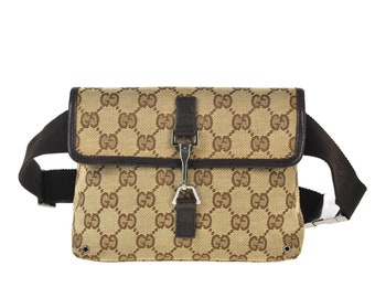 4a0464441e6d F69 GUCCI Authentic Waist Pouch Bumbag Belt Bag Cross Body Fanny Pack  Vintage GG Pattern Brown Canvas Leather Italy