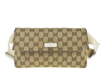 eec97f7ce26320 D95 GUCCI Authentic Waist Pouch Bumbag Belt Bag Cross body Fanny Pack  Vintage GG Pattern Brown Canvas Leather Italy