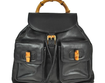 91254fe8691 G13 GUCCI Authentic Bamboo Backpack Hand bag Black Leather Vintage  Drawstring Italy