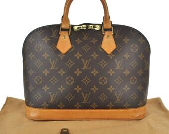 751e38eb56c95 E77 Louis Vuitton authentische Alma Hand Tasche Monogram Canvas Leder  M51130 Vintage Geldbörse