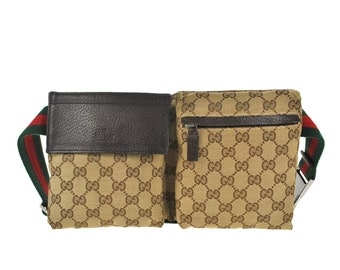 d0d1de76ae72 40FA GUCCI Authentic Sherry Webbing Bumbag Belt Waist Pouch Crossbody Fanny  Pack Vintage GG Pattern Brown Canvas Leather Italy