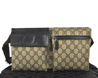 f757f966e8e97 H51 GUCCI Authentic GG Supreme Waist Pouch Bumbag Belt Bag Cross body Fanny  Pack Vintage Pattern Beige Brown PVC Leather Italy