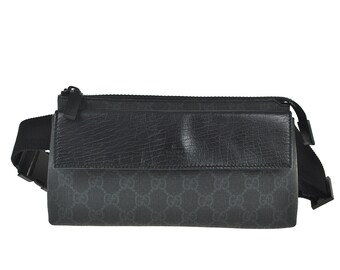 2efc0fd98ebd F10 GUCCI Authentic GG Supreme Bumbag Fanny Pack Waist Pouch Belt Bag Cross  body Pattern Black PVC Leather Italy