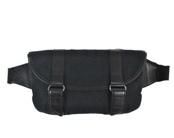 5d83998683c F48 GUCCI Authentic Waist Pouch Bumbag Belt Bag Cross Body Fanny Pack  Vintage GG Pattern Black Canvas Leather Italy Free shipping