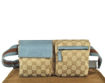 d5a20b704322c3 G8 Rare Mini Size GUCCI Authentic Bumbag Belt Waist Pouch Cross Body  Vintage GG Pattern Blue Canvas Leather Italy