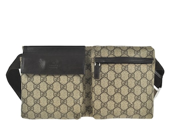49eae128272150 D94 GUCCI Authentic Supreme Waist Pouch Bumbag Belt Bag Cross body Fanny  Pack Vintage GG Pattern Brown PVC Leather Italy