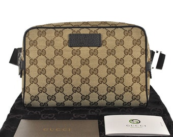 9ed83a372b6b F57 GUCCI Authentic Waist Pouch Bumbag Belt Bag Cross body Fanny Pack  Vintage GG Pattern Brown Canvas Leather Italy