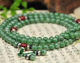 mala of jadeite and agate beads (翡翠.紅瑪瑙 念珠) -108 Mala Beads -Japa Mala -Prayer Beads -Yoga -Meditation -Mantra -Awakening -Energy