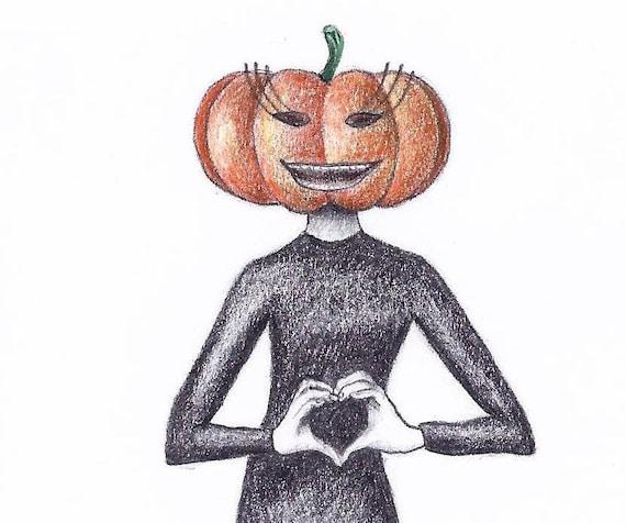 Halloween Pumpkin Drawing.Happy Halloween Card Funny Halloween Pumpkin Drawing Woman Body Art Printable Card Anniversary Card Sexy Halloween Greeting Card Art