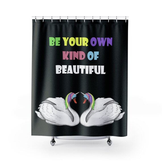 Black Unicorn Swan Shower Curtains Inspirational Gift Unique