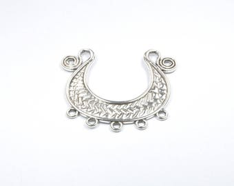 BR381 - 1 large charm silver metal semicircle