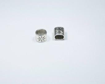 PE90 - Set of 2 pearls Silver metallic tubes