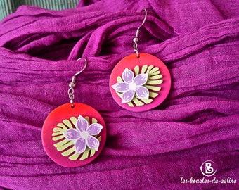 Earrings: pink tropical flowers